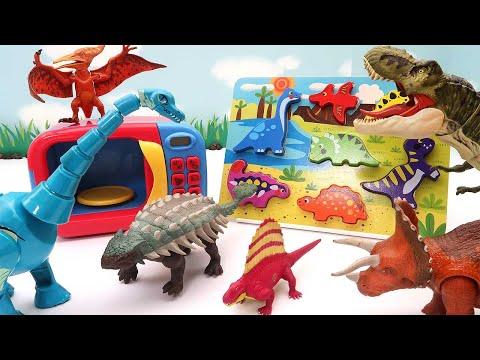 Lost Dinosaurs! Dinosaur Wooden Puzzle In Jurassic Park. T-Rex, Triceratops, Pteranodon 사라진 공룡