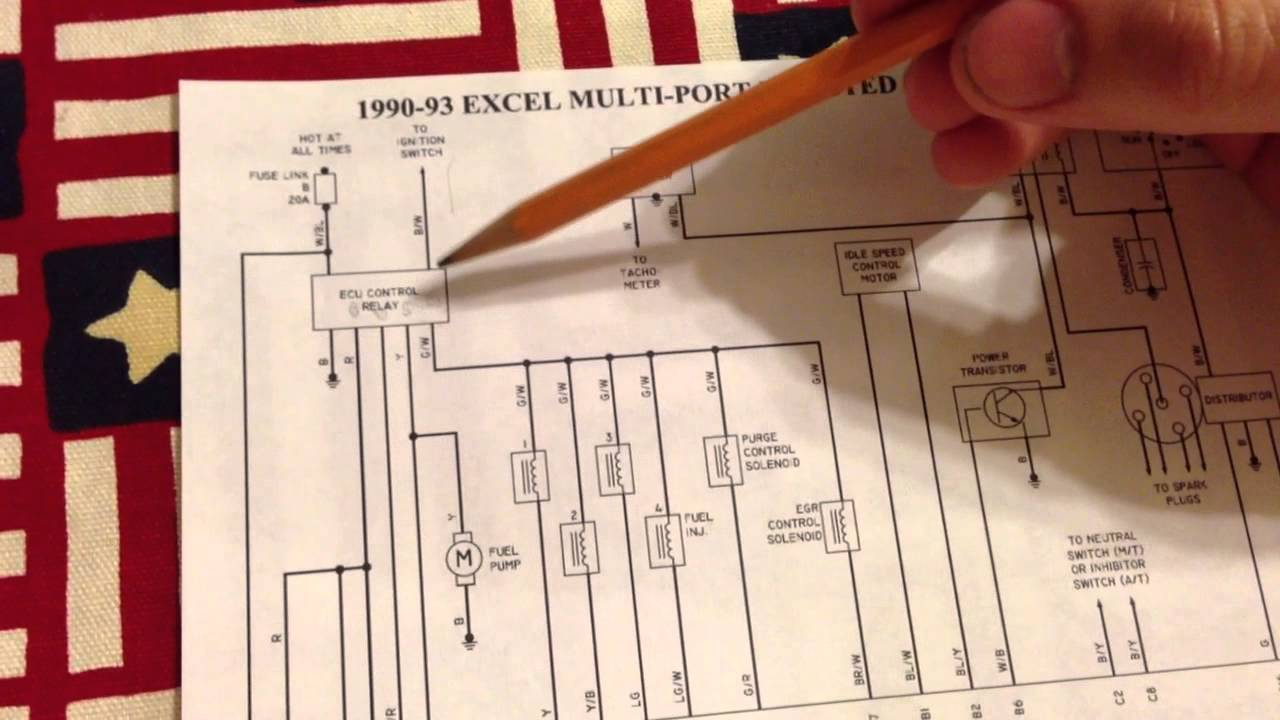 91 Hyundai Excel Engine wiring schematic YouTube