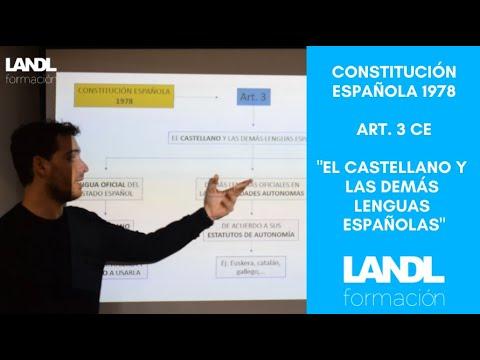 Constitución española 1978 para oposiciones y esquema artículo 3 título preliminar