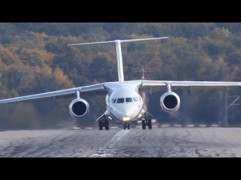 New Antonov! Antonov AN-148 Crosswind Landing At Düsseldorf (HD)