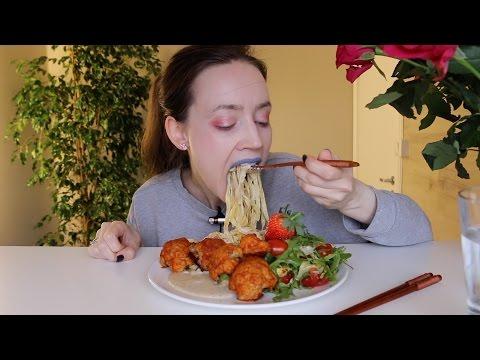 ASMR Whisper Eating Sounds | Pasta, Buffalo Cauliflower | 100K Sub | Q&A | Shoutouts