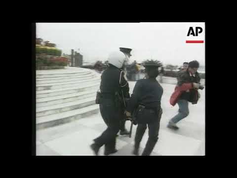 MACAU: POLICE BREAK UP FALUN GONG PROTEST