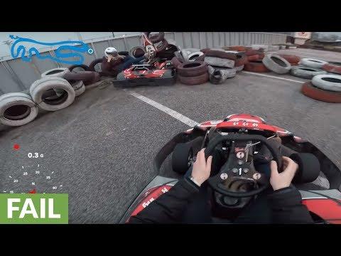 Beginner Go-Kart driver crashes at full speed into tire barrier