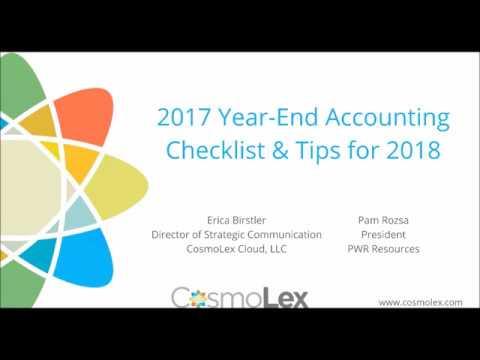 2017 Year-End Legal Accounting Checklist   CosmoLex Webinar