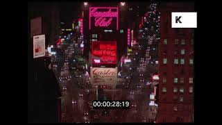Times Square at Night, New York in 1970, HD from 35mm