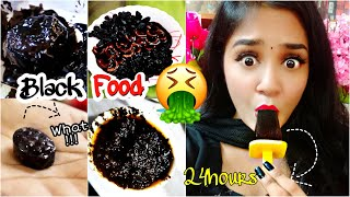 I only ate BLACK food for 24 HOURS challenge!!! Nilanjana Dhar | India