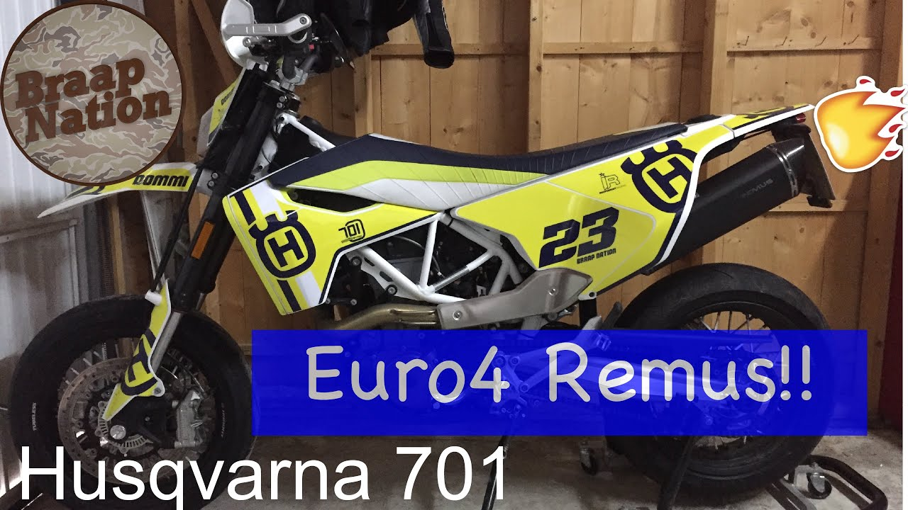 remus euro 4 husqvarna 701 auspuff sound check braap. Black Bedroom Furniture Sets. Home Design Ideas
