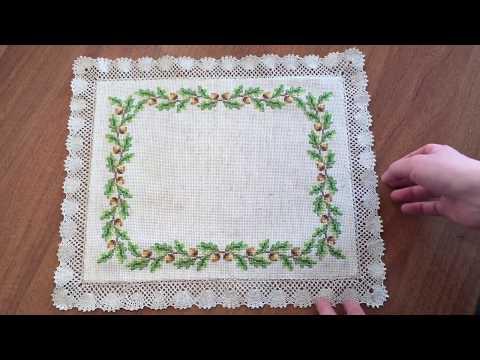 Плету кружево для моей вышитой салфетки