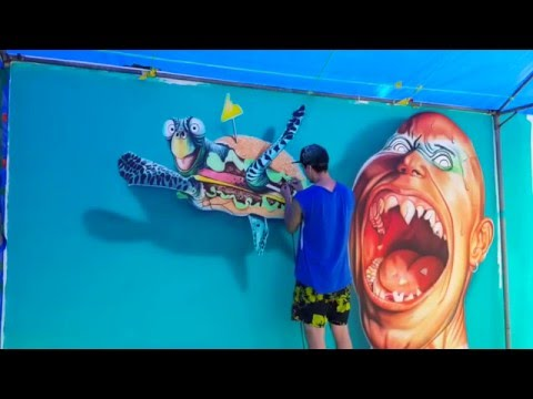 "3D Airbrushing  The project of "" Street art illusion"""
