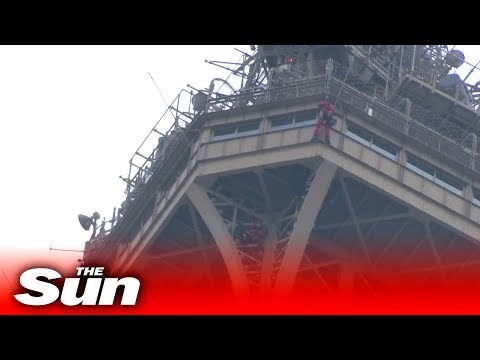Man climbs Eiffel Tower | Rescue operation LIVE