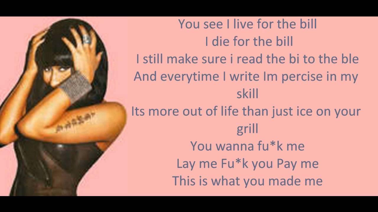 Nicki minaj youtube lyrics