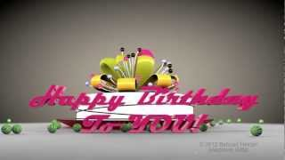 Happy Birthday to you HD 3d animated video greeting e-card-Cinema 4d animation