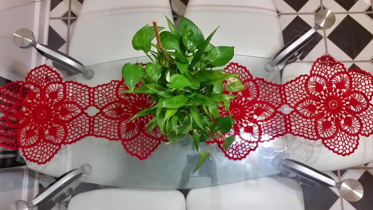 Flor para camino de mesa en crochet 2 mejorado youtube for Camino mesa moderno