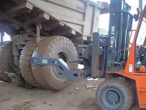 tire handler forklift attachment youtube