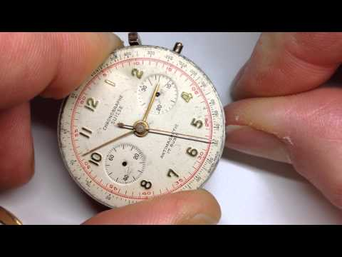 Vintage Rare CHRONOGRAPHE SUISSE Watch Movement Chronograph 17. Landeron Cal 48? Video7345