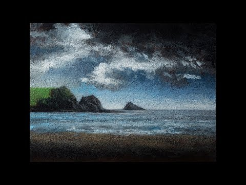 Cloudy Beach 6×8 Landscape Oil Painting Demonstration
