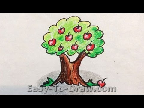 How to draw a cartoon apple tree free easy tutorial for kids youtube