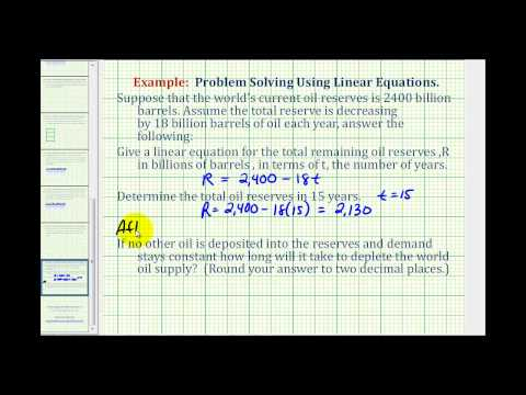 Ex:  Linear Equation Application:  Oil Reserves