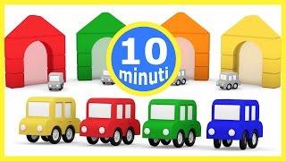Cartoni animati per bambini: 4 macchinine colorate e 4 colori