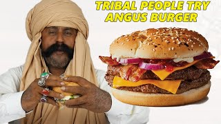 Tribal People Try ANGUS Burger for the First Time