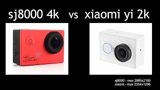 SJ8000  4K 2880x2160 vs Xiaomi YI 2K 2304x1296 | test action camera.