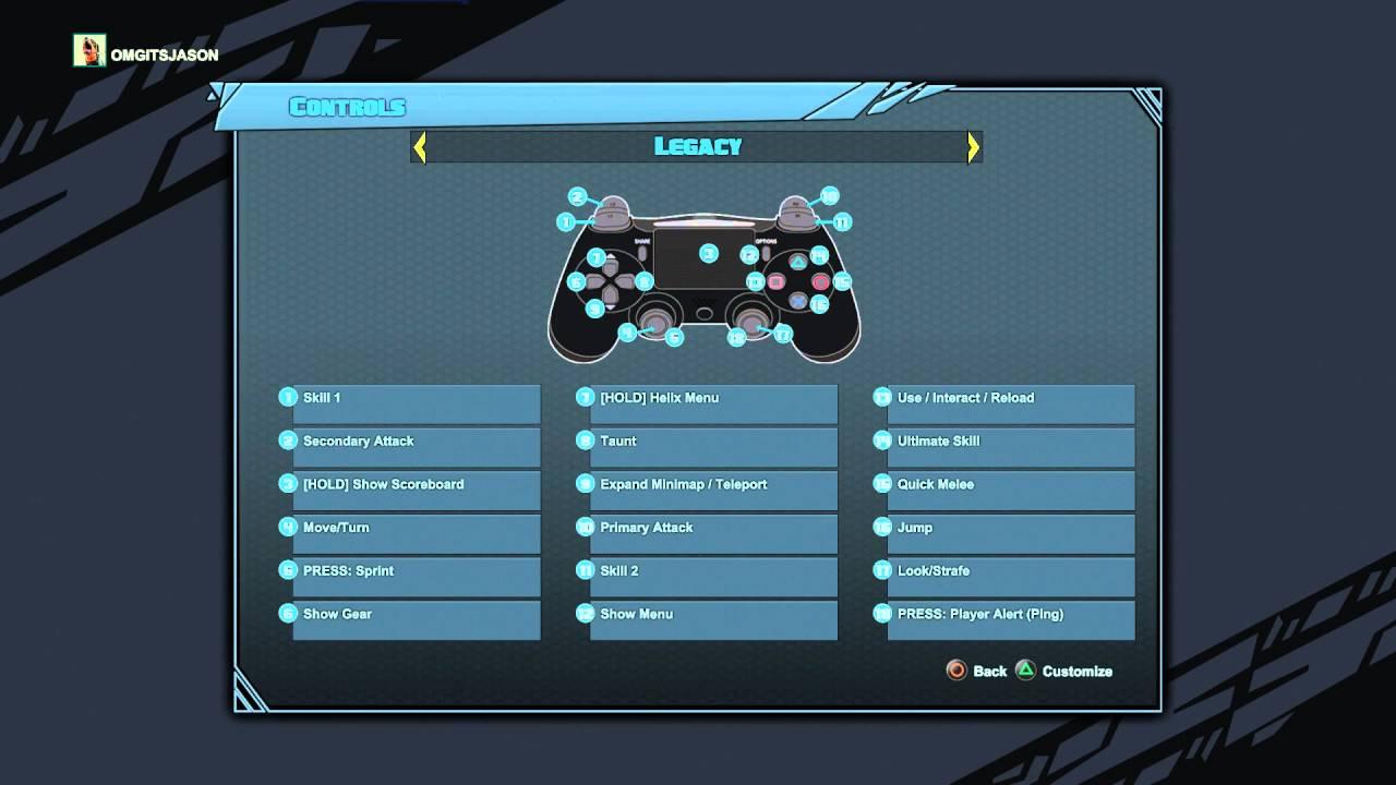 Battleborn - Controller Button Layouts / Options: Default, Southpaw ...