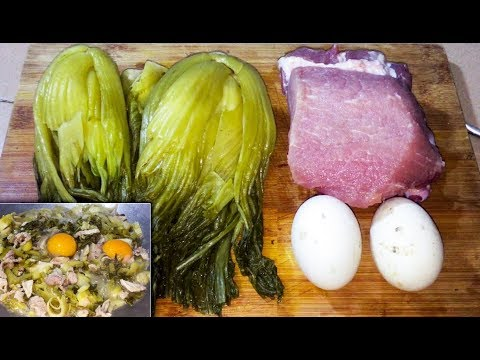 Thumbnail: Easy Fried Pork, Eggs with Sour Cabbage - Asian Food Cooking, Cambodian food Cooking