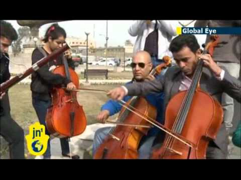 Iraqi musicians performing for peace: goodwill concert in front of Baghdad National Theatre