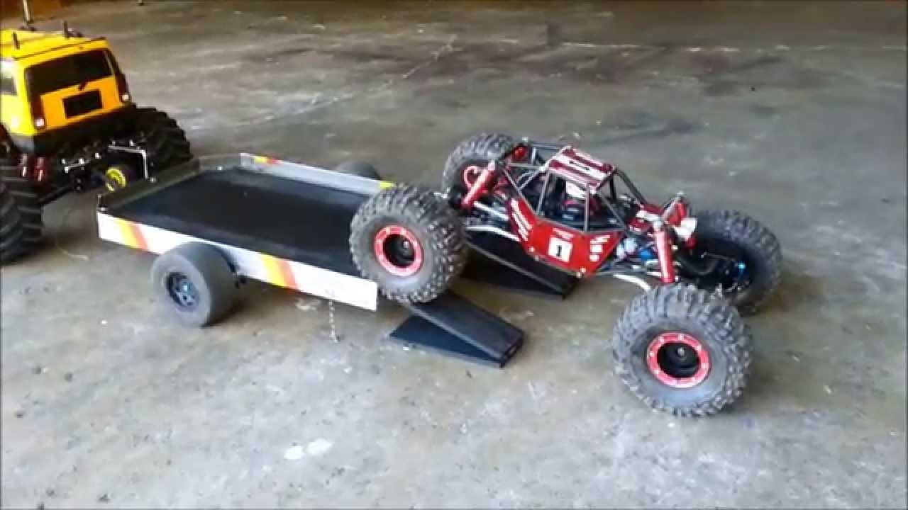 custom made rc trailer for my E-maxx hummer - YouTube