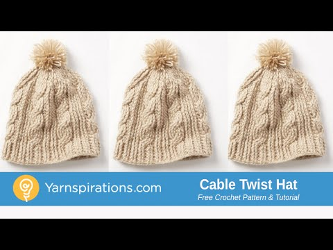 Crochet Cable Twist Hat Tutorial - YouTube