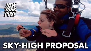 Skydiver pops the question amid 13,000-foot jump | New York Post