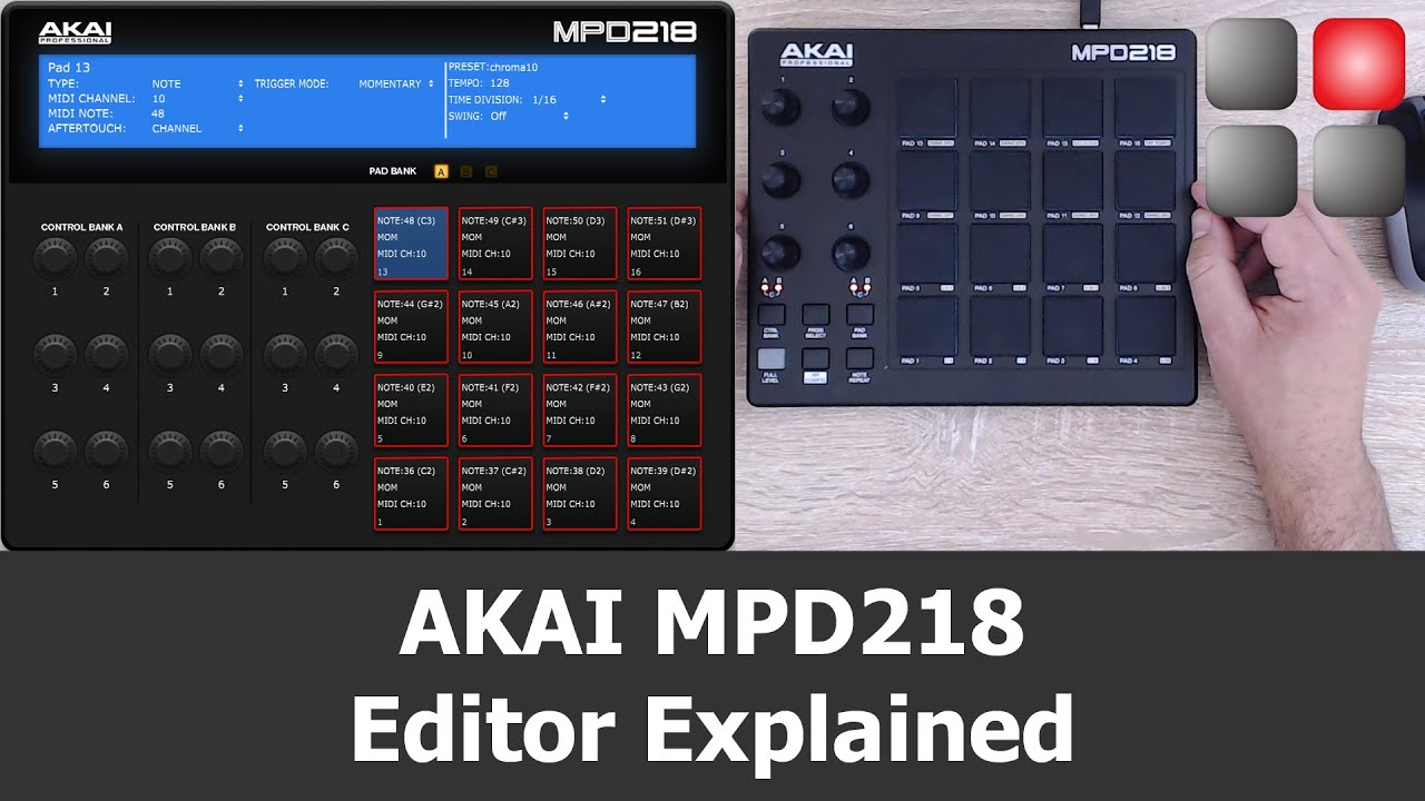akai mpd218  AKAI MPD 218 Editor Explained - YouTube