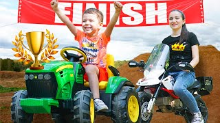 Tema with Mom | Racing on children's vehicles with power wheels
