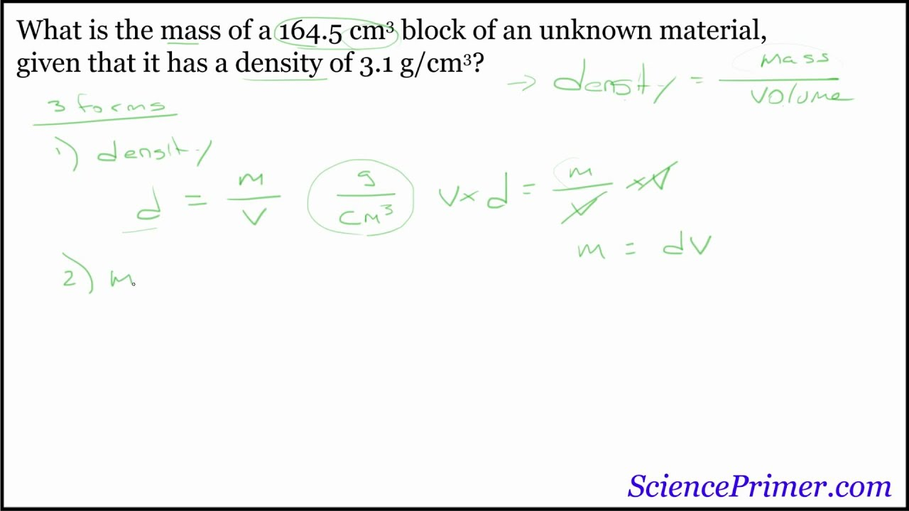Mass Volume And Density Example Solution