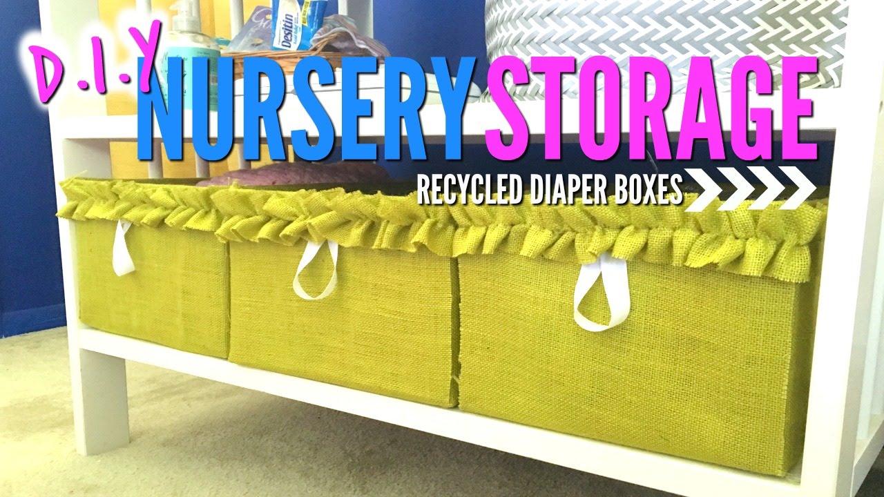 Storage IDEA! | Recycled Diaper Boxes DIY | Nursery Decor - YouTube