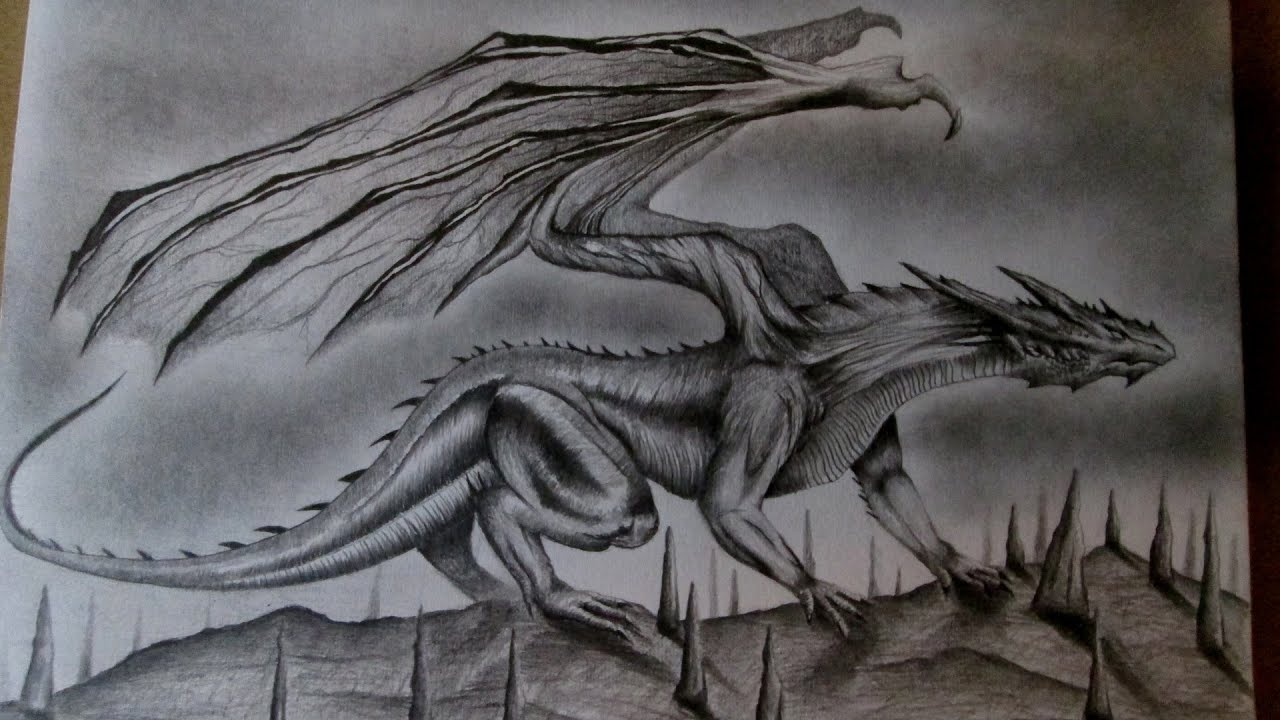 Impresionante Dibujo De Un Dragón A Lápiz Amazing Drawing Of Dragon