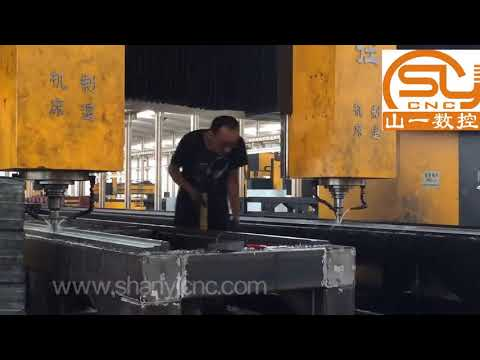 Gantry movable double head heavy duty cnc drilling milling machine for steel structure