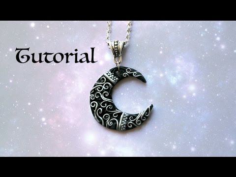 Ornate Crescent Moon DIY Pendant   Polymer Clay Jewelry / Jewellery Tutorial