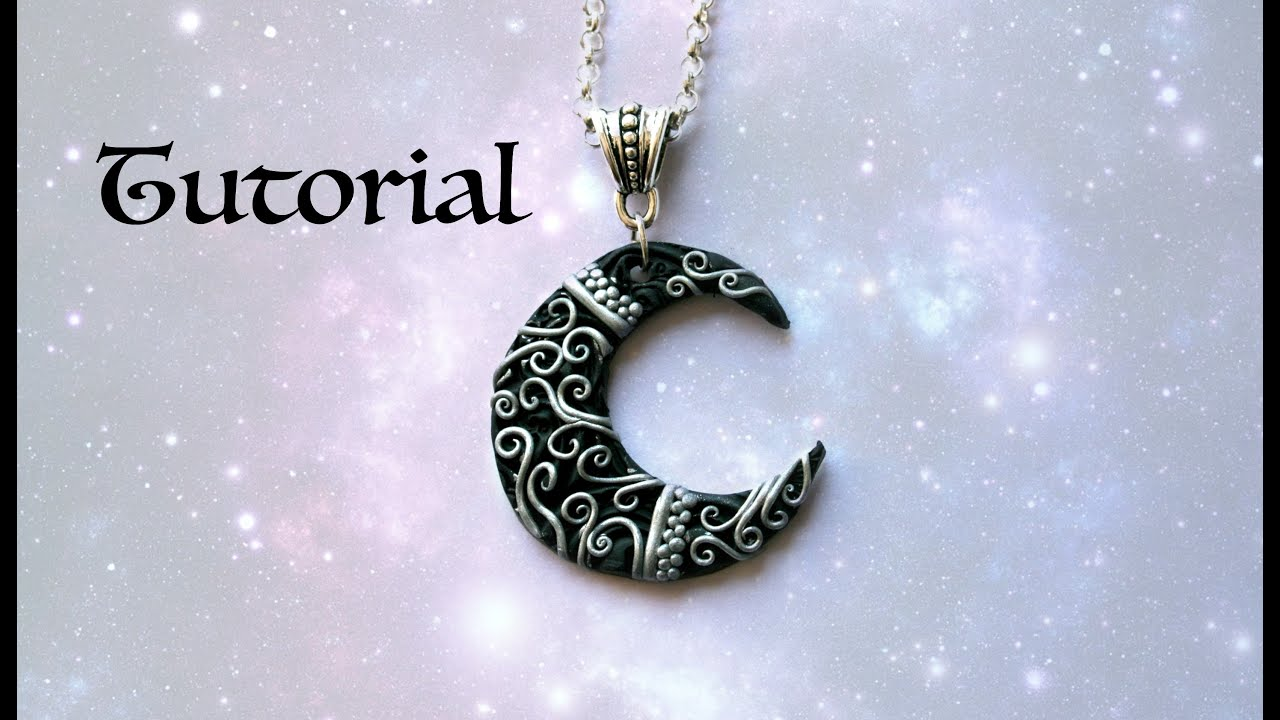 Ornate crescent moon diy pendant polymer clay jewelry jewellery youtube premium aloadofball Gallery