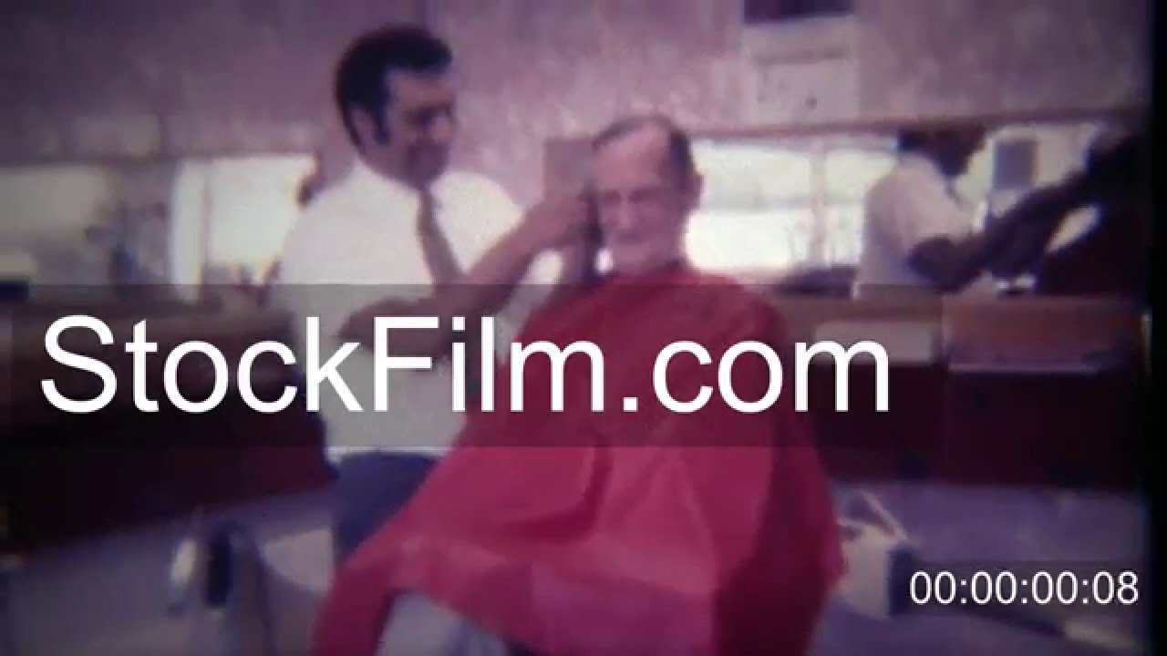 1963 Old Man Getting Trim Haircut In Barber Shop Chair Des Moines
