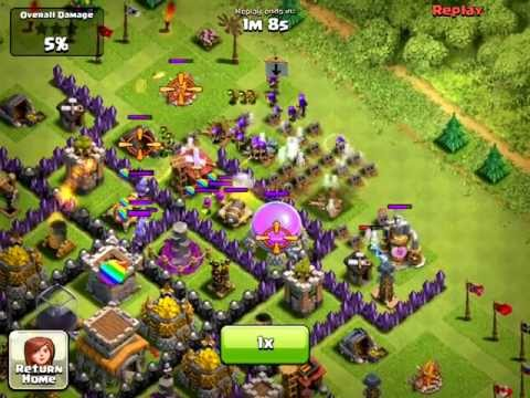 Clash of Clans [Defense] Archer Queen, Level 6 Troops, & Rage Spell