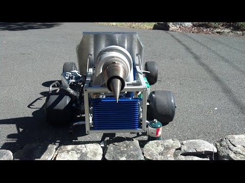 Test run of the G2 powered jet kart