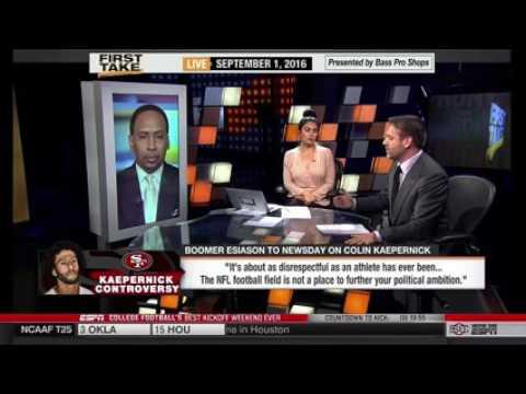 ESPN FIRST TAKE TV - Boomer Blasts Colin Kaepernick  Most Disrespectful