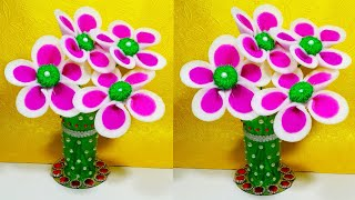 NEW DESIGN PLASTIC BOTTLE AND FOAM GULDASTA/FOAM SE BANAYE AASAN GULDASTA/FOAM AND BOTTLE VASE