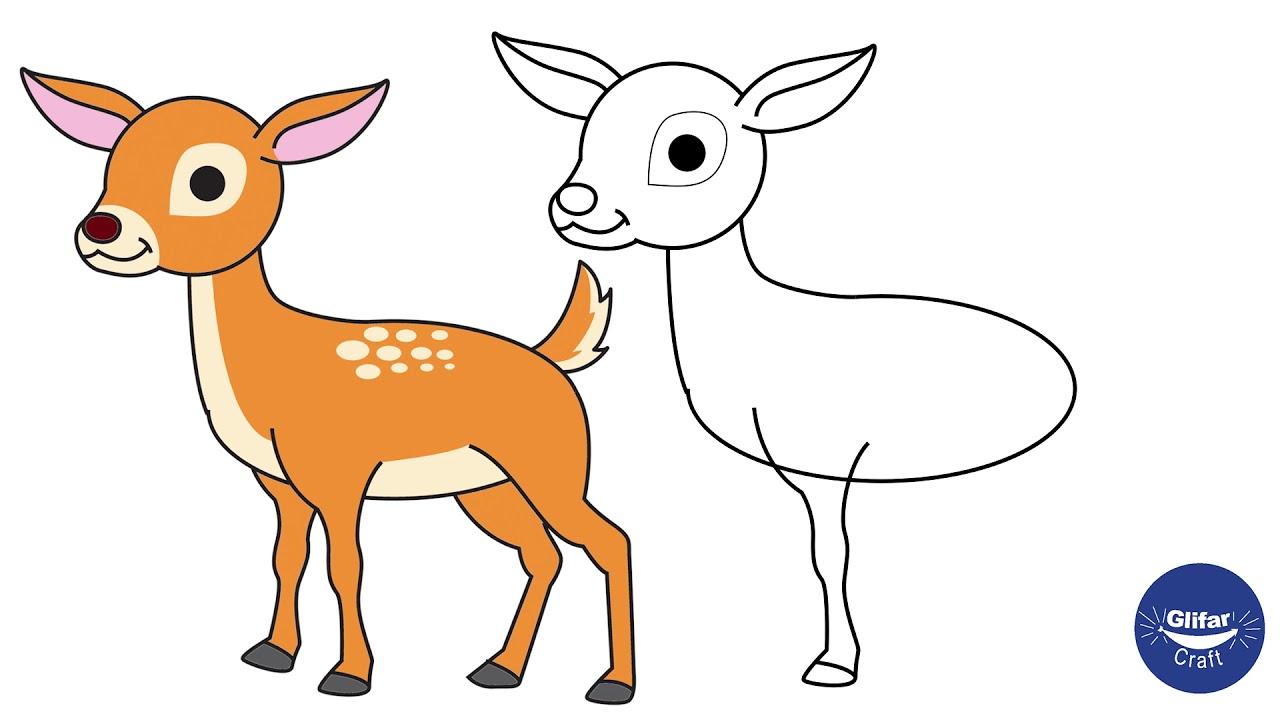 How To Draw Deer For Kids Deer Animal Drawing Step By Step Drawing Of Cartoon Deer By Easy Steps Youtube