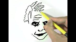 How to draw the Joker (Batman)  - in easy steps for children, kids, beginners