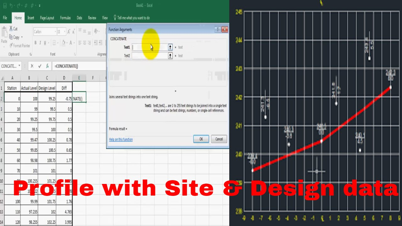How to Create a profile in Auto cad with Lisp base on Actual & Design level  in English