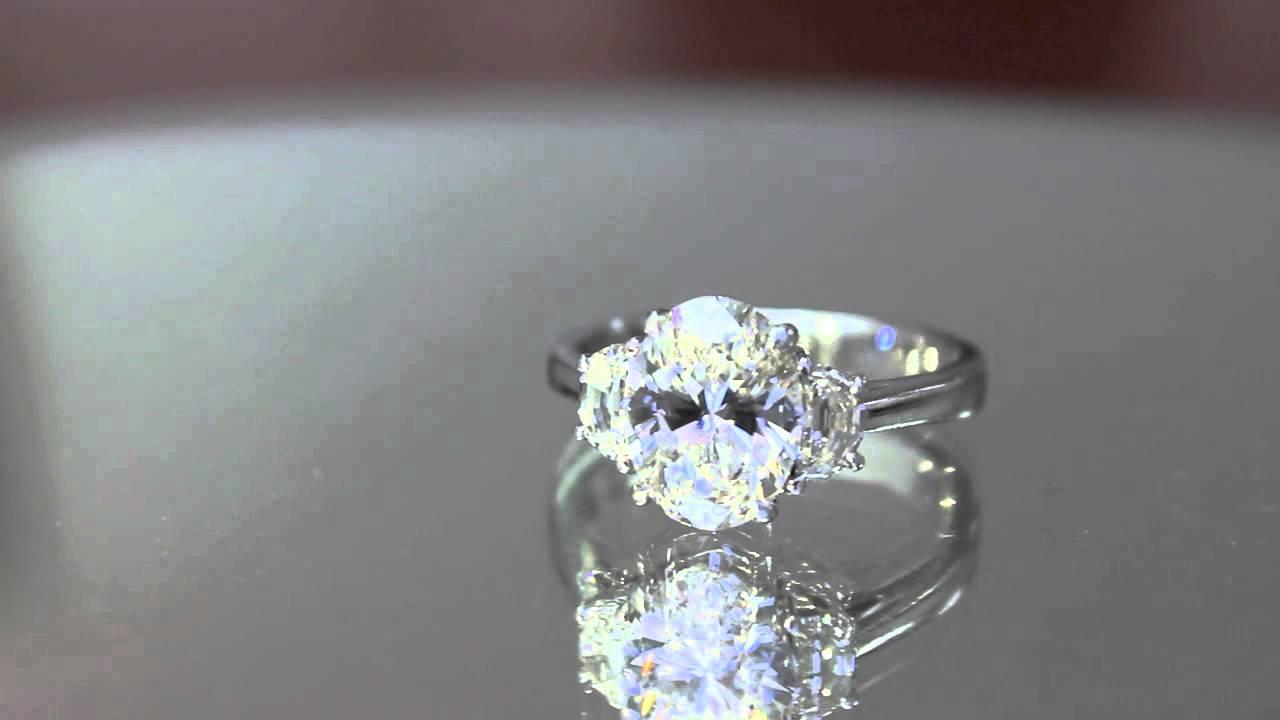 Three Stone Oval Cut With Half Moons Diamond Engagement