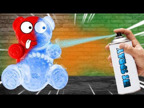 Experiment - Kann man Lucky Bär mit Eis Spray einfrieren?