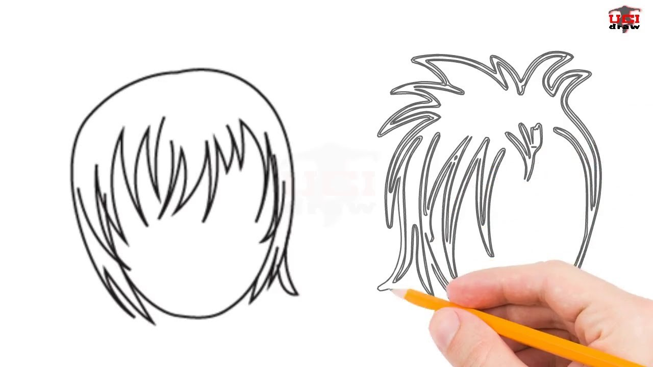 draw anime hair step